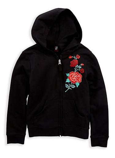 Girls 7-16 Rose Embroidered Zip Up Sweatshirt,BLACK,large
