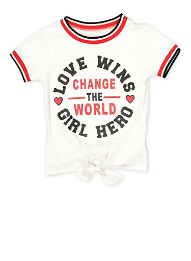 Girls 7-16 Change The World Tie Front Tee,MULTI COLOR,large