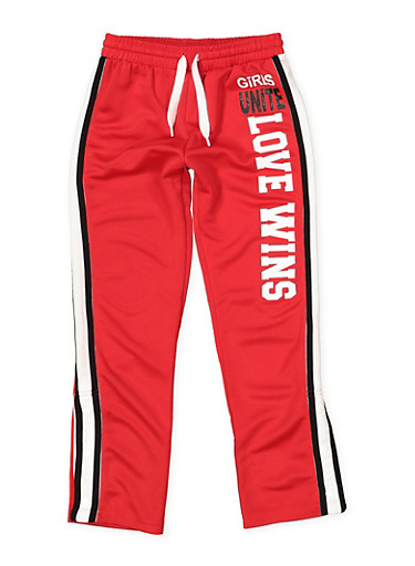 Girls 7-16 Graphic Flyaway Track Pants,RED,large