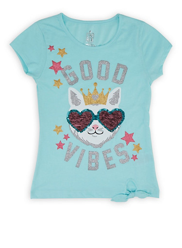 Girls 7-16 Reversible Sequin Graphic Tie Front Tee,TURQUOISE,large