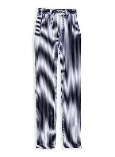 Girls 7-16 Stripe Pants,NAVY/WHT,large