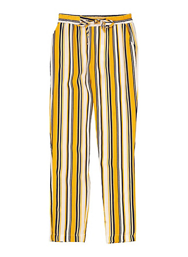 Girls 7-16 Striped Tie Front Pants,MUSTARD,large