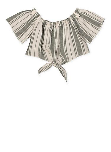 Girls 7-16 Striped Off the Shoulder Linen Crop Top,BLACK/WHITE,large