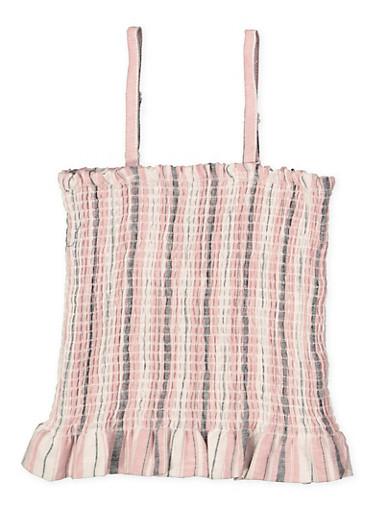 Girls 7-16 Striped Linen Smocked Top,MAUVE,large