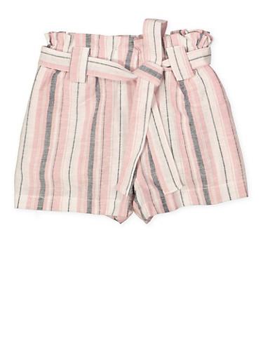 Girls 7-16 Paper Bag Waist Linen Striped Shorts,MAUVE,large