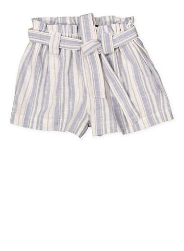 Girls 7-16 Paper Bag Waist Linen Striped Shorts,BLUE,large