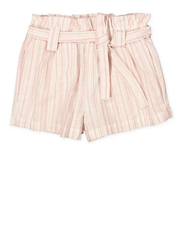 Girls 7-16 Tie Waist Linen Striped Shorts,MAUVE,large