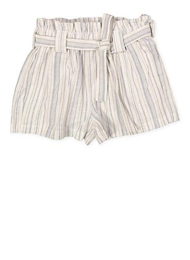 Girls 7-16 Tie Waist Linen Striped Shorts,BLUE,large