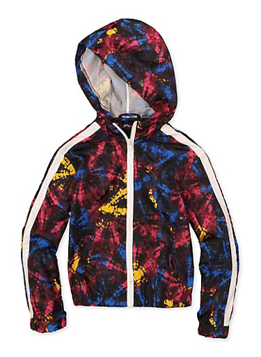Girls 7-16 Hooded Tie Dye Windbreaker Jacket,BLACK,large