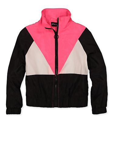 Girls 7-16 Color Block Zip Windbreaker Jacket,BLACK/WHITE,large