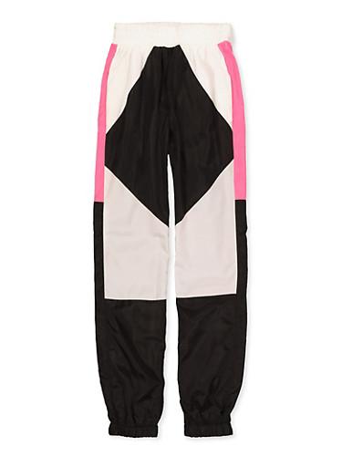 Girls 7-16 Color Block Nylon Joggers,BLACK/WHITE,large