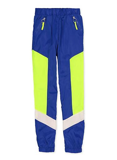 Girls 7-16 Zip Pocket Windbreaker Joggers,RYL BLUE,large
