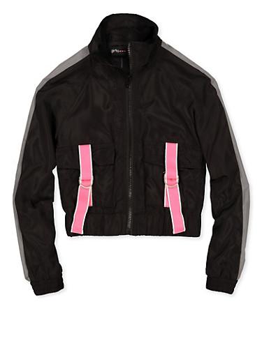 Girls 7-16 Buckled Pocket Windbreaker Jacket,BLACK,large