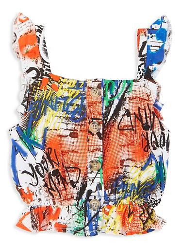 Girls Ruffled Graffiti Print Sleeveless Top,WHITE,large