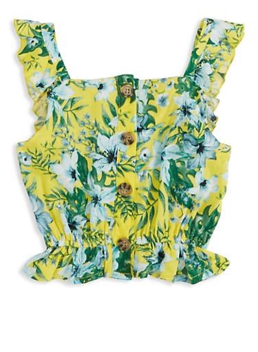 Girls Tropical Print Sleeveless Top,YELLOW,large