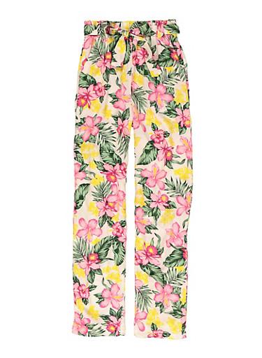 Girls Printed Tie Waist Pants,IVORY,large