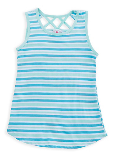 Girls 7-16 Striped Caged Back Top,GREEN,large