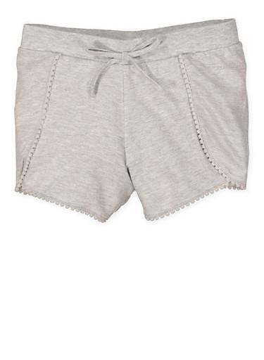 Girls 7-16 Pom Pom Trim Shorts,HEATHER,large