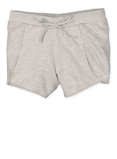 Girls 7-16 Knit Pom Pom Shorts,HEATHER,large