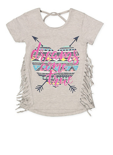 Girls 7-16 Glitter Graphic Fringe Tee,HEATHER,large