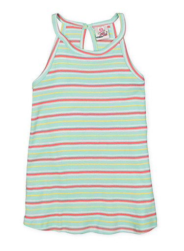 Girls 7-16 Striped Rib Knit Tank Top,GREEN,large