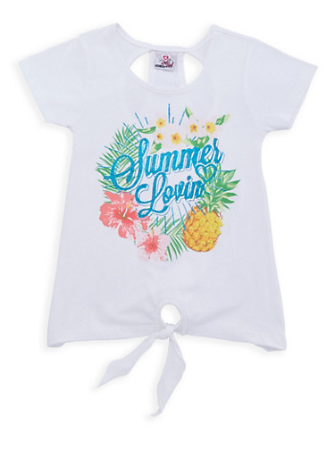Girls 7-16 Glitter Graphic Tie Front Tee,WHITE,large