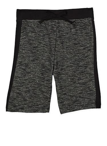 Girls 7-16 Space Dye Bermuda Shorts,BLACK,large