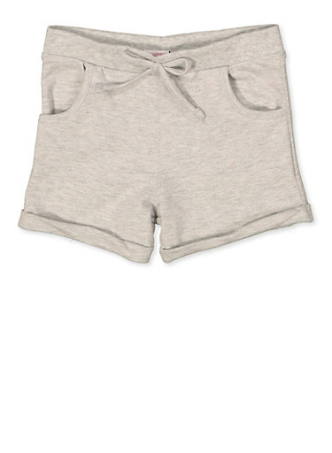Girls 7-16 French Terry Cuffed Shorts,HEATHER,large
