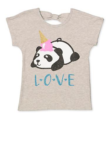 Girls 7-16 Glitter Panda Tee,HEATHER,large