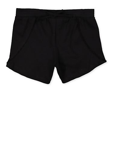 Girls 7-16 Pom Pom Trim Shorts,BLACK,large