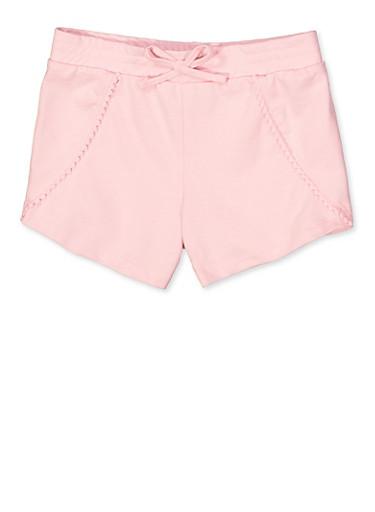 Girls 7-16 Pom Pom Trim Shorts,ROSE,large