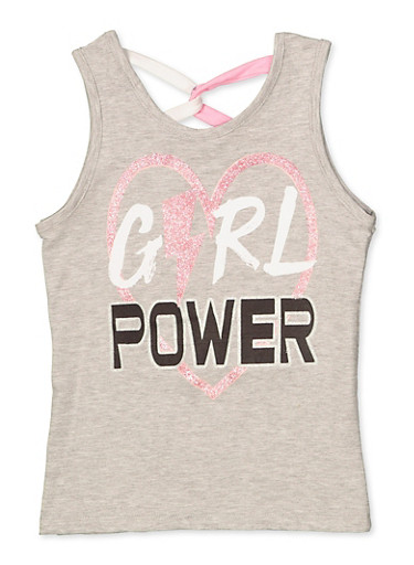 Girls 7-16 Girl Power Caged Back Tank Top,HEATHER,large