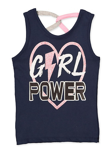 Girls 7-16 Girl Power Caged Back Tank Top,NAVY,large