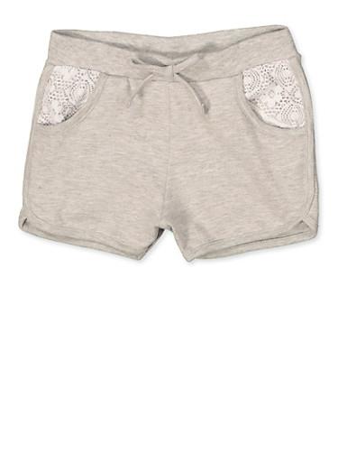 Girls 7-16 Lace Pocket Dolphin Shorts,HEATHER,large