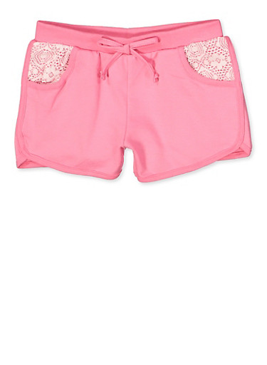 Girls 7-16 Lace Pocket Dolphin Shorts,FUCHSIA,large
