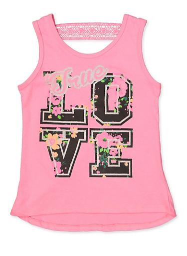 Girls 7-16 True Love Keyhole Back Tank Top,FUCHSIA,large