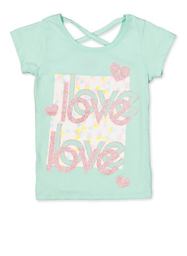 Girls 7-16 Love Caged Back Tee,MINT,large