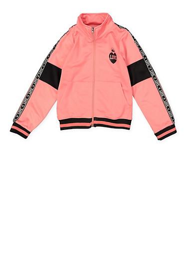 Girls 7-16 Love Tape Trim Track Jacket,PINK,large