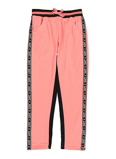Girls 7-16 Love Tape Trim Track Pants,PINK,large