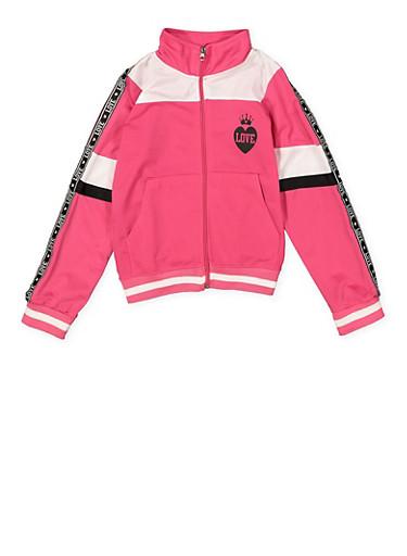 Girls 7-16 Color Block Love Track Jacket,NEON PINK,large