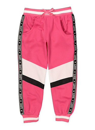 Girls 4-6x Color Block Love Track Pants,NEON PINK,large