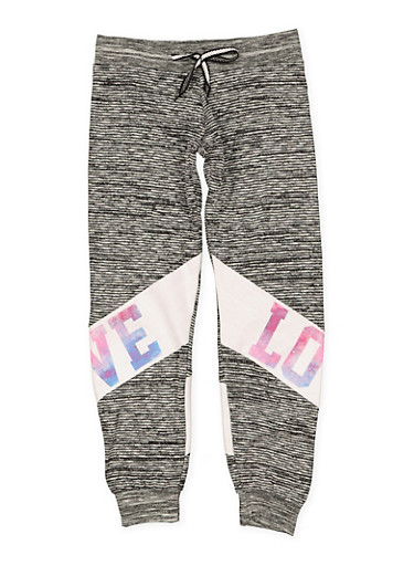 Girls 7-16 Love Graphic Joggers | 1631063400001,CHARCOAL,large