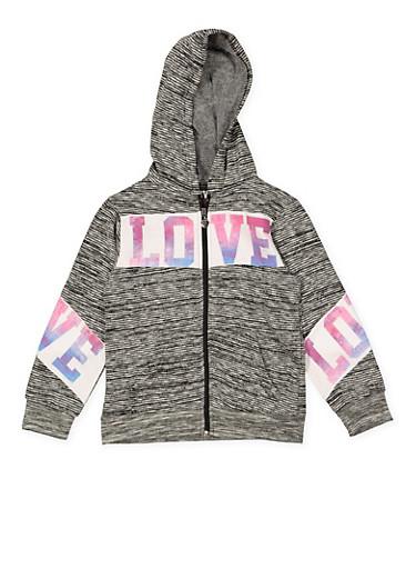 Girls 7-16 Love Graphic Zip Up Sweatshirt,CHARCOAL,large