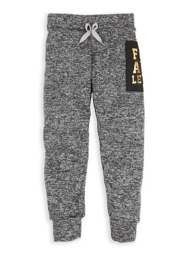 Girls 7-16 Flawless 3D Foil Graphic Joggers,CHARCOAL,large