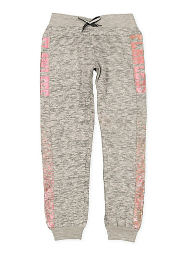 Girls 7-16 Flawless Graphic Joggers,GRAY,large