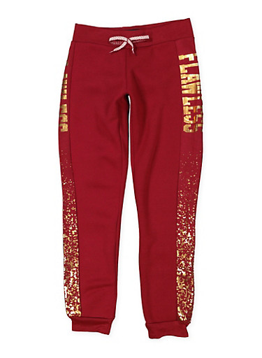 Girls 7-16 Flawless Graphic Joggers,WINE,large