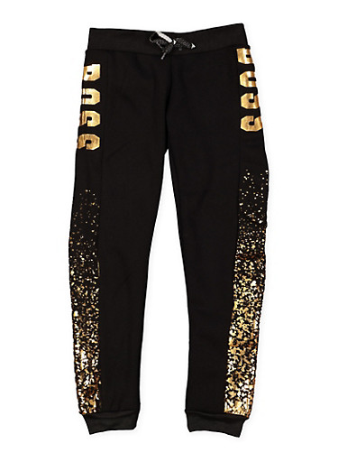 Girls 7-16 Boss Foil Graphic Joggers,BLACK,large