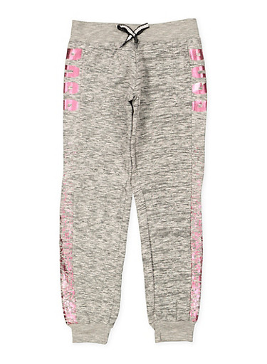 Girls 7-16 Boss Foil Graphic Joggers,GRAY,large