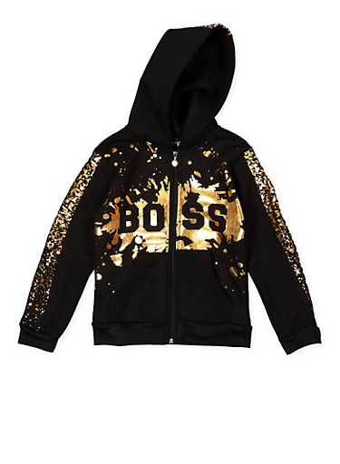 Girls 7-16 Boss Foil Graphic Sweatshirt,BLACK,large