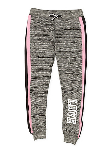 Girls 7-16 Love Striped Side Joggers,CHARCOAL,large